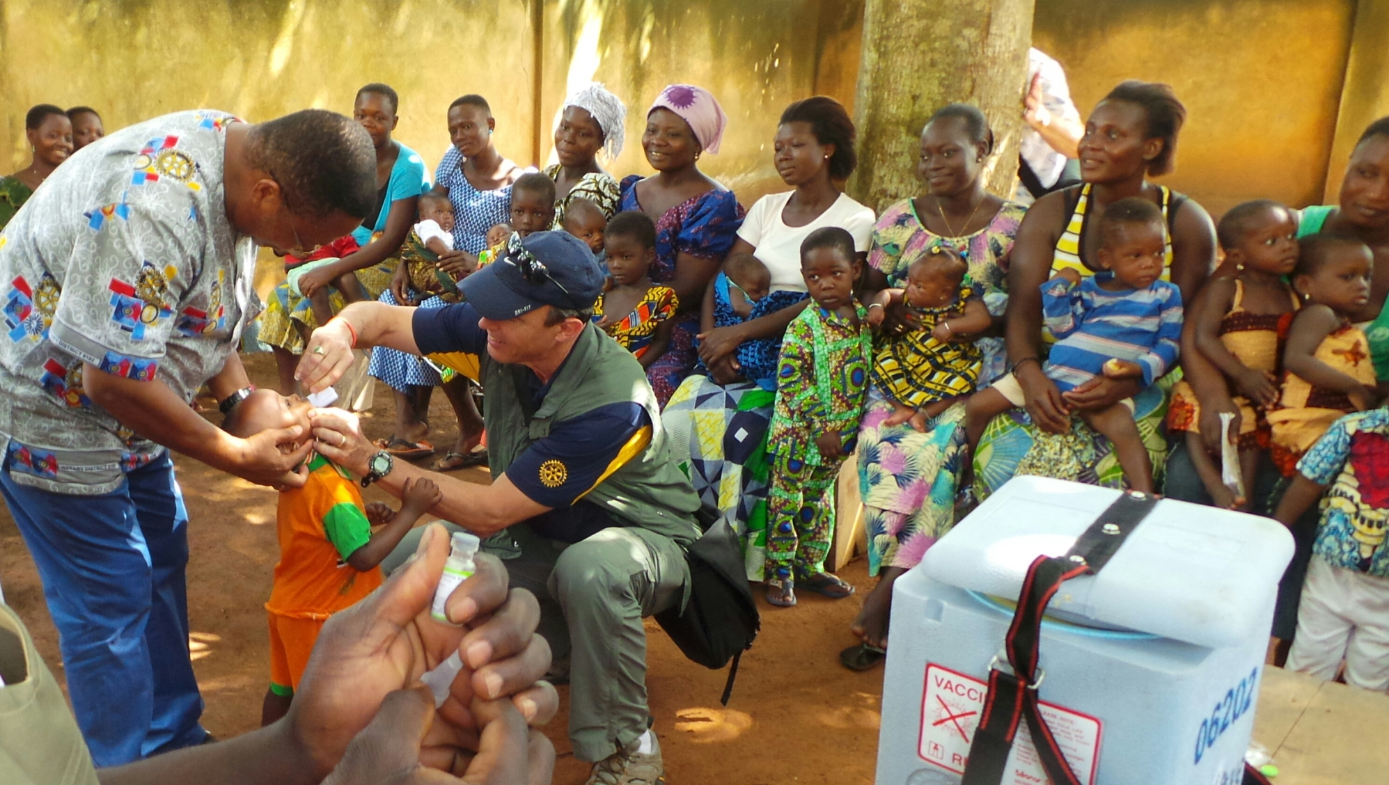 West Africa Project Fair attendees assist with polio immunization in Bagja