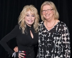 Past District Governor Juliet Riseley and Dolly Parton at Dolly Parton's Imagination Library launch in Australia