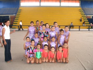 The young Bolivian gymnasts and their coach.