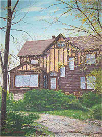 Mayford painting of Comely Bank, the home of Paul and Jean Harris.