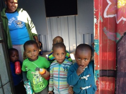 Children line up to receive health services at a Rotary Family Health Days event in South Africa.