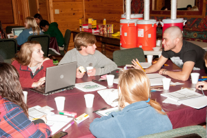 Camp Enterprise participants work in small groups on a business plan. Photo courtesy of W. Gaines Bagby.