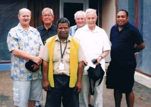(Left to right): Mike Oliver, Australia; Howard Jones, UK; Anthony Lilou, Papua New Guinea; Gordon Wiseman, UK; Christopher Podger, UK; Jelta Wong, Papua New Guinea