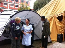 ShelterBox response team member Nicola Hinds with Geeta Shrestha, Nursing Director at one of the Kathmandu hopsitals that have received ShelterBox tents. Photo courtesy of Phil Duloy/ShelterBox.