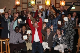 "The second batch of Rotary sponsored UNESCO-IHE students and their Dutch Rotary host counselors celebrate the successful completion of the 18 month ""Water Management and Sanitation"" MS program at UNESCO-IHE in Delft, the Netherlands."