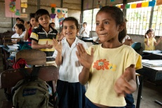 Children attend class in Santa Matilde, a village near Chinandega, Nicaragua.