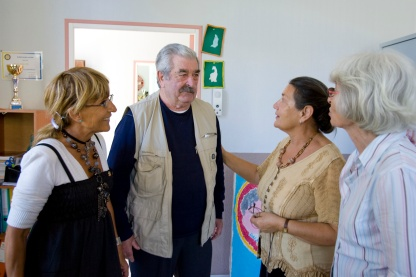 """A patient is welcomed to La Halte Repit, or """"A Pause for Rest,"""" a Rotary club-sponsored day center for people with Alzheimer's disease."""
