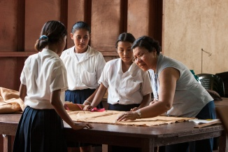 Students learn to sew at the Betania trade school in Chinandega, Nicaragua. The school teaches children skills including sewing, metalwork, woodworking, and food preservation.