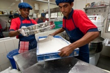 Student bakers prepare ingredients as part of the Vocational Training Centre program in Chennai, Tamil Nadu, India.