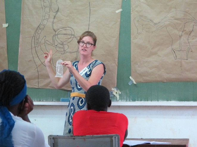 Katie participating in youth summer camps where she taught high school-aged students about sexual and reproductive health topics.