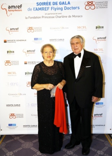 Luigi Apuzzo with his wife at a Gala with Princess Charlène.
