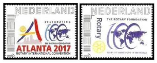 In the Netherlands, two new stamps were issued, one for the RI Convention, and one for the Rotary Foundation Centennial.