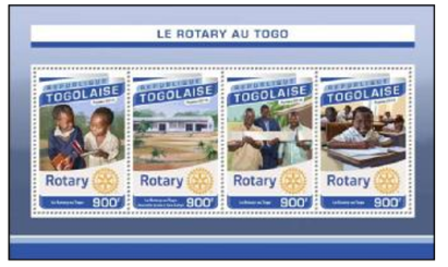 In Togo, a combination sheet of four stamps and a souvenir sheet were issued to pay tribute to the work of local Rotary clubs, specifically recognizing a new school in Yara Kabyl.