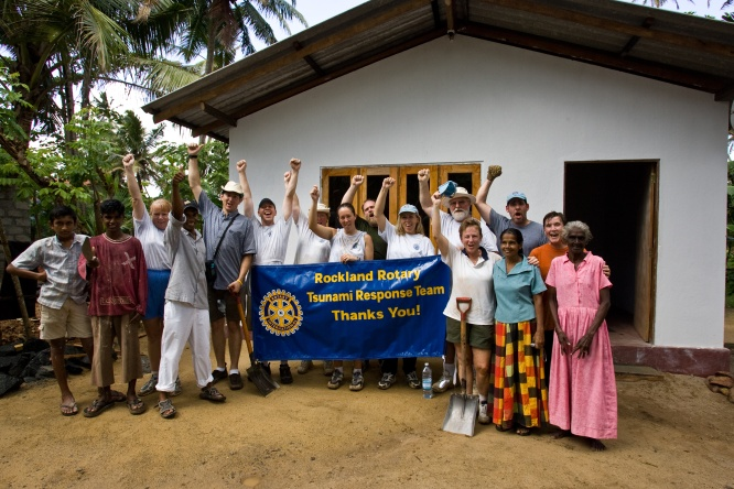 Members of the Rotary Club of Rockland, Maine, USA worked with the Habitat for Humanity's Global Village program to rebuild a home in Sri Lanka after the 2004 tsunami.