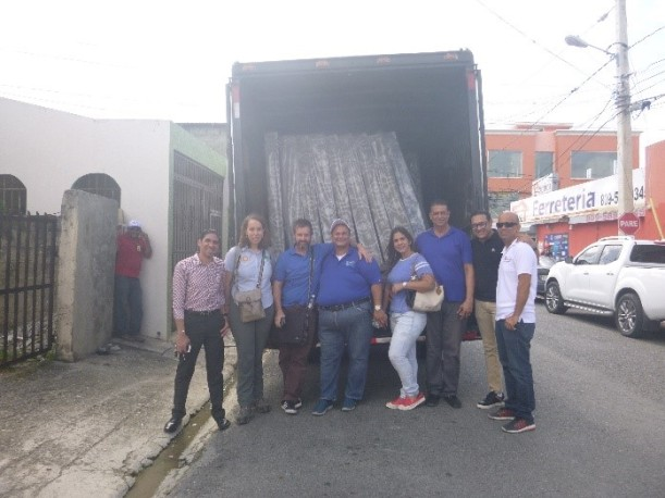 ShelterBox Response Team with President Ramón Majín Jiménez and Rotarians from the Club Rotario San Francisco de Macoris on the Dominican Republic planned distribution of mattresses to the neediest members of their community whose beds had been ruined by Maria. This, in turn, enabled the team to conduct shelter needs assessments in the region.