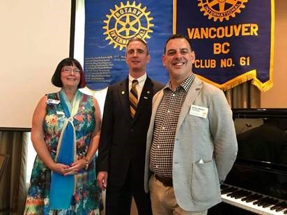 Brian Street with Steven Aquilina and District 5040 Governor Darcy Long at Brian Street's July 3, 2018 invocation ceremony as President of the Rotary Club of Vancouver, B.C., Canada.