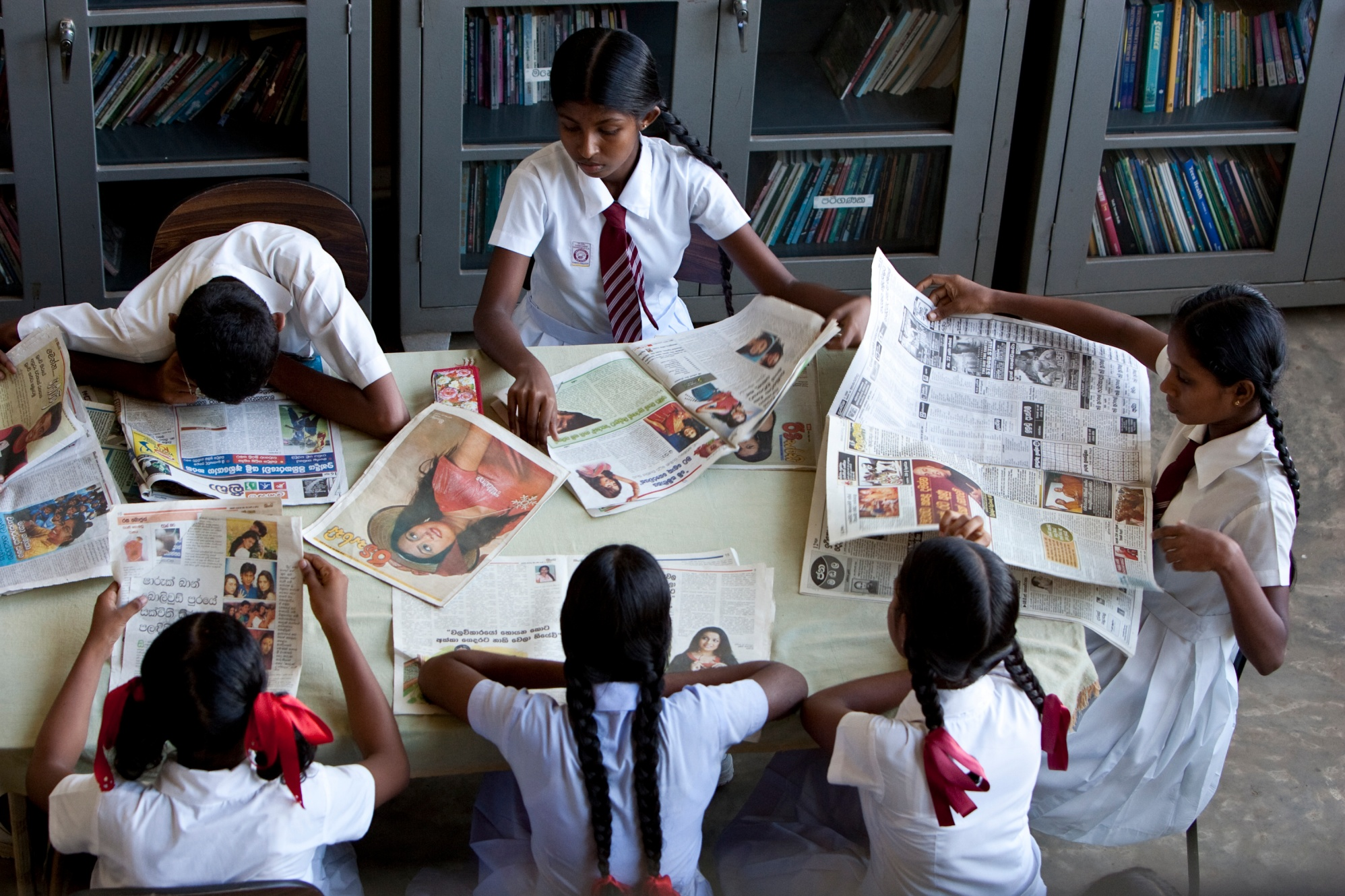 Students study at Randombe Kanishta Vidyalaya in Ambalangoda, Sri Lanka. This school was built through the Schools Reawaken project after the 2004 tsunami. District 3220 (Sri Lanka) raised funds for the project and received support from The Rotary Foundation, Standard Chartered Bank, and other contributors.