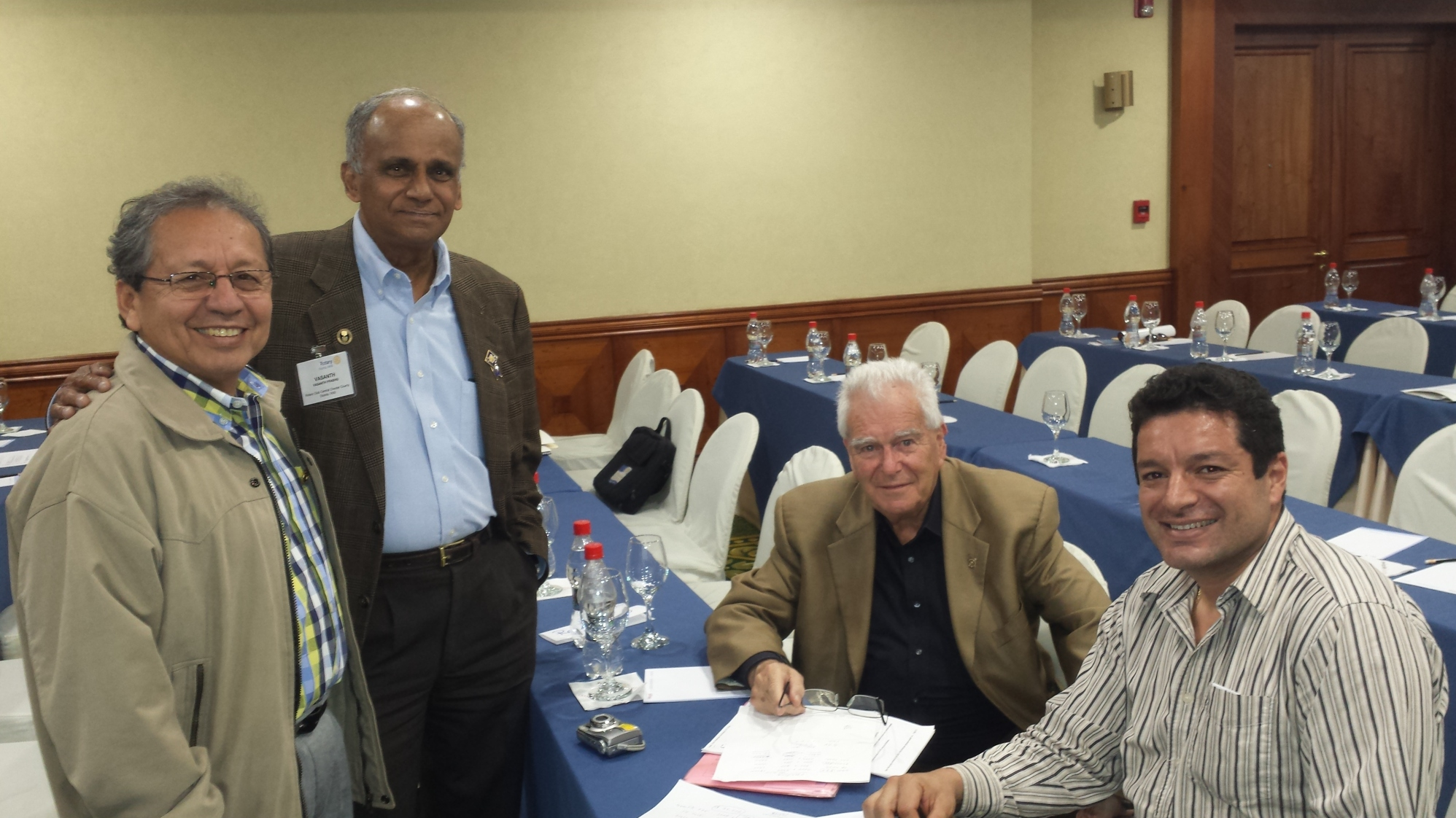 From left to right: Galo Alfonso Betancourt Criollo, Dr. Vasanth Prabhu, PDG Juan Prinz, and current President Rene Romero Solano of the Rotary Club of Santa Rosa. This photo was taken during the discussion of the Biodigester project during the most recent Ecuador Project Fair.