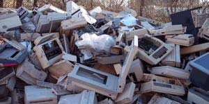 Computer products dumped in a landfill
