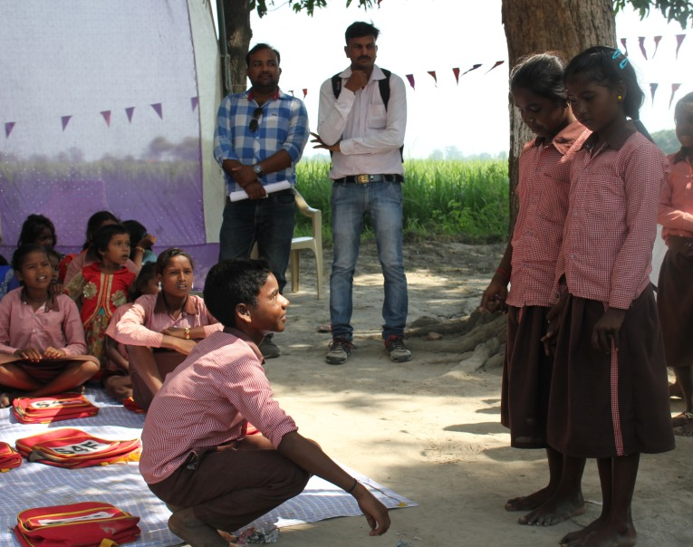 Kids performing a skit about standing up to slavery.