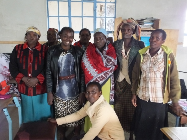 The sewing team of the Soar Kenya Widows Self-Help Group. One of the three teams sewing pads for the project.