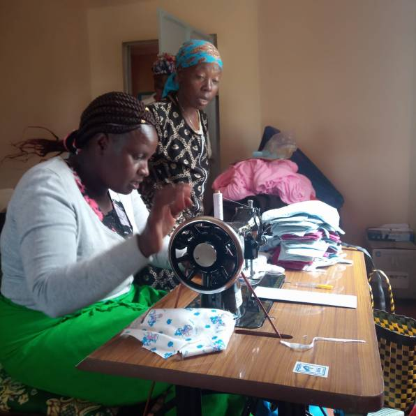 Member of the Nakuru Hospice sewing team at work.
